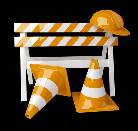 Digital 3D rendering under construction signs on black background Stock Photo