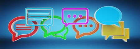 Digital colorful 3D rendering conversation icons on blue background Stock Photo