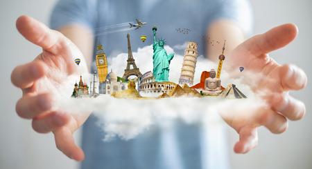Hombre de negocios en el fondo borroso sosteniendo una nube llena de monumentos famosos en sus manos Representación 3D