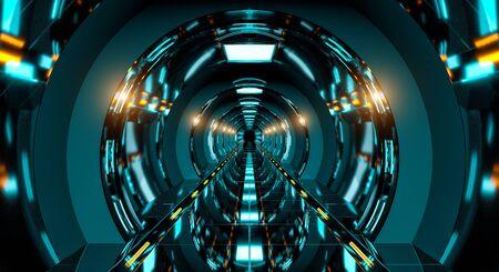 Dark futuristic spaceship corridor with modern blue lights 3D rendering