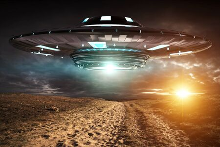 Metal and silver UFO invasion on planet earth landascape 3D rendering Stock fotó - 80555344