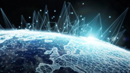 Globales Netzwerk und Datenaustausch über die Erde 3d Rendering Standard-Bild - 80555369