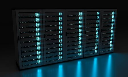 big: Dark server room data center storage with blue lights 3D rendering