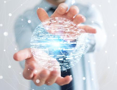3d: Businessman holding white and blue hologram sphere 3D rendering