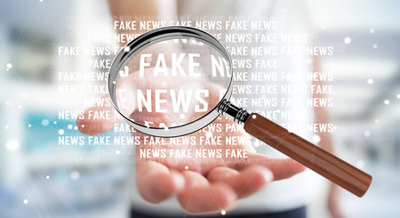 Businessman on blurred background discovering fake news information 3D rendering Stock Photo - 80555554