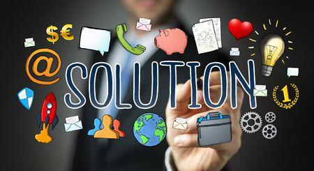 progressing: Businessman on blurred background drawing hand-drawn solution presentation