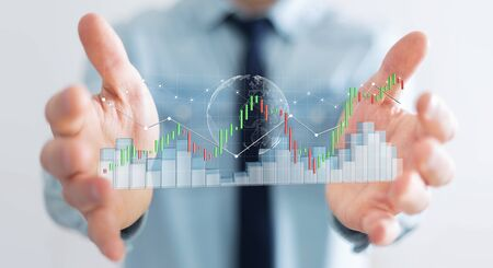 international crisis: Businessman on blurred background using digital 3D rendered stock exchange stats and charts