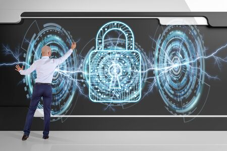 cyber defence: Businessman in modern interior using antivirus interface on a board 3D rendering
