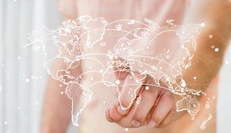 banco mundial: Businessman on blurred background touching world connection sketch Foto de archivo