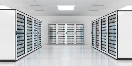 huge: White server room data center storage with blue lights 3D rendering