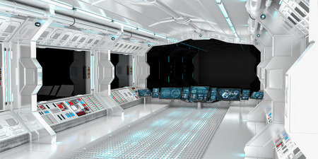star: Spaceship interior with view on black window 3D rendering elements of this image furnished by NASA