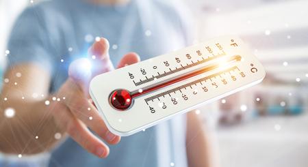 Zakenman controleert de temperatuur stijging met een thermometer 3D rendering Stockfoto
