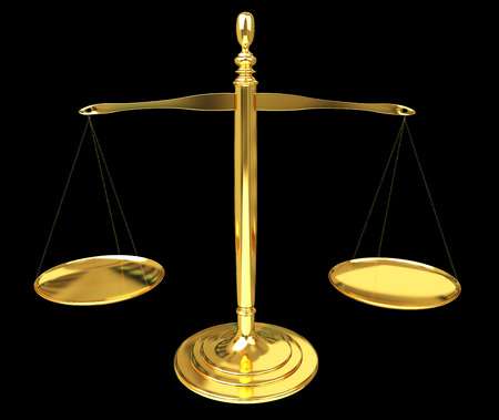 Justice weighing scales isolated on black background 3D rendering