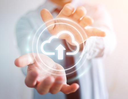 Businessman on blurred background using digital cloud 3D rendering