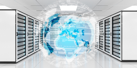 storage: Digital white Earth network flying over server room data center 3D rendering Stock Photo