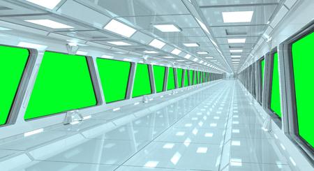 녹색 창에서 볼 수있는 우주선 복도 3D 렌더링 스톡 콘텐츠
