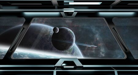 corridors: Spaceship black corridor with view on space and distant planets system 3D rendering elements of this image furnished by NASA Stock Photo