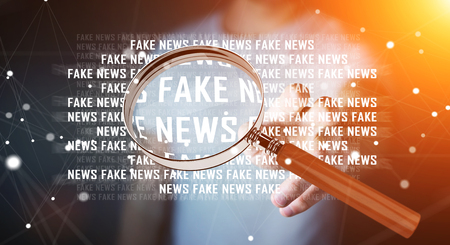 Businessman on blurred background discovering fake news information 3D rendering Stock Photo - 80941447