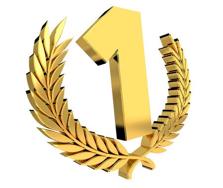 Eerste gouden prijspictogram op witte achtergrond 3D-rendering Stockfoto