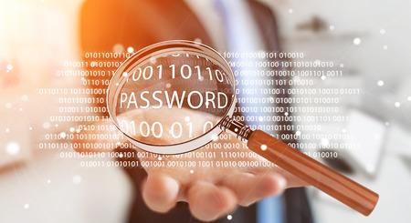 パスワード 3 D レンダリングを見つけるためデジタル拡大鏡を使用して背景をぼかした写真上のハッカー