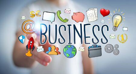 fingers: Businessman on blurred background using hand-drawn business presentation