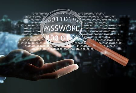 anti piracy: Hacker on blurred background using digital magnifying glass to find password 3D rendering