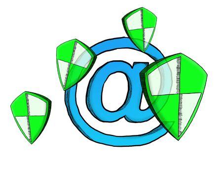 Hand-drawn antivirus system sketch on white background Stock Photo