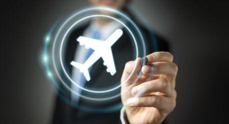 Businessman on blurred background booking his flight with modern digital application 3D rendering Standard-Bild