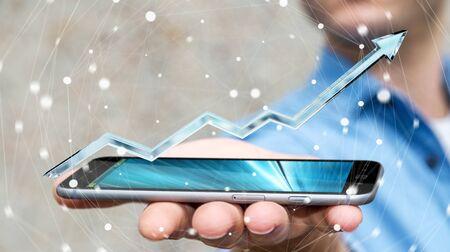 mobile: Businessman holding digital blue arrow over mobile phone 3D rendering