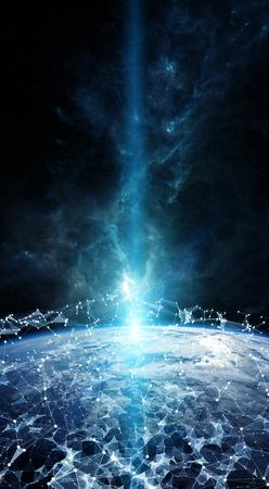 Red global y los intercambios de datos sobre el planeta Tierra Elementos 3D de representación de esta imagen proporcionada por la NASA Foto de archivo