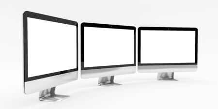 Triple modern silver and black metallic computer on white background 3D rendering Stock Photo