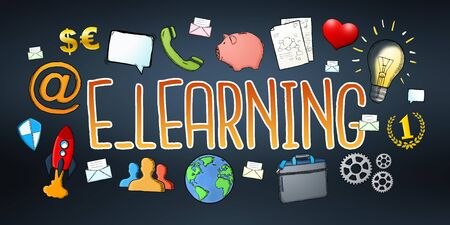 application university: Hand-drawn e-learning text with icons on dark background