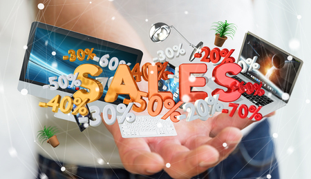 Businessman on blurred background holding sales icons in his hand 3D rendering Stock fotó - 81191030