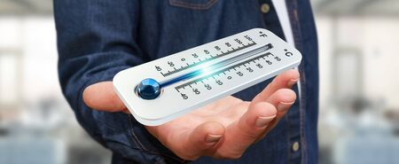 fingers: Businessman checking the temperature drop with a thermometer 3D rendering