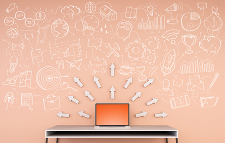 validation: Manuscript project presentation with big arrow written on an orange wall over desktop 3D rendering