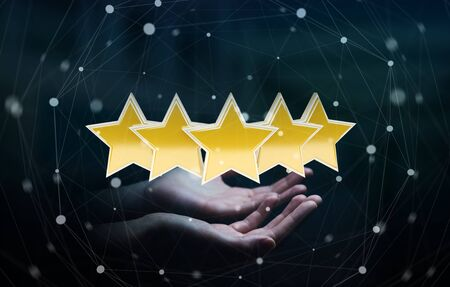 five star: Young businesswoman ranking with her hand using digital stars 3D rendering