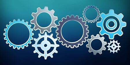 Hand-drawn gears sketch on blue background