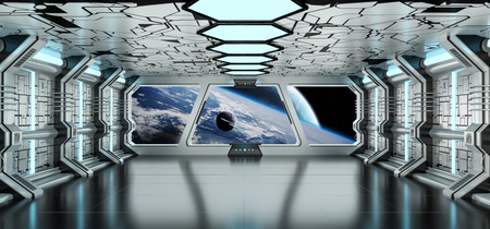 Spaceship white and blue interior with view on space and distant planets system 免版税图像