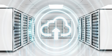 Server room data center with cloud blue icon floating inside 3D rendering