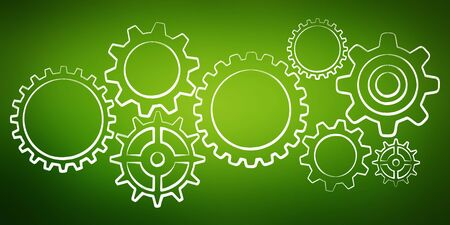 blue green background: Hand-drawn gears sketch on green background Stock Photo