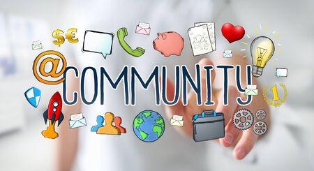 fingers: Businessman on blurred background using hand-drawn community presentation Stock Photo