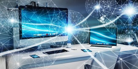 storage: Floating white and blue glowing dot network on desktop interior 3D rendering Stock Photo