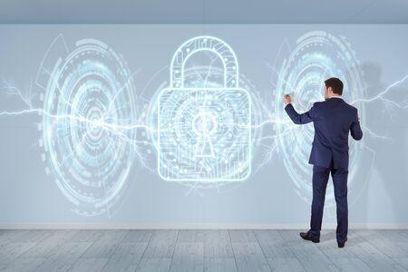 Businessman in modern interior using antivirus interface on a wall 3D rendering