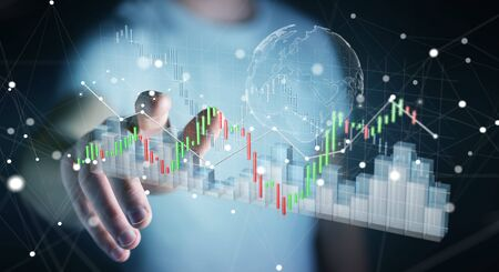 rendered: Businessman on blurred background using digital 3D rendered stock exchange stats and charts