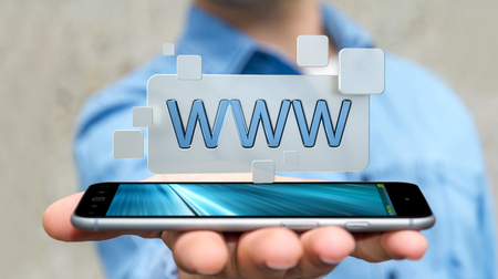 Businessman using tactile interface web address bar to surf on internet 3D rendering Stock Photo