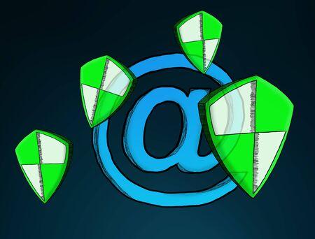 Hand-drawn antivirus system sketch on blue background