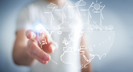 ecosistema: Businessman on blurred background touching renewable energy sketch