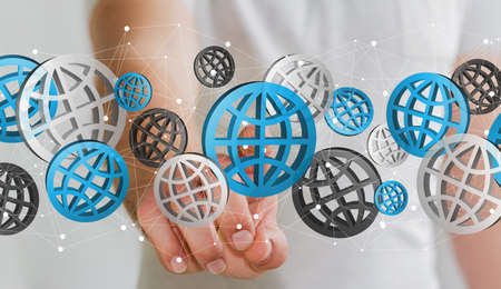Businessman touching digital web icons with his finger '3D rendering' Stock Photo