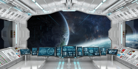 Spaceship interior with view on space and distant planets system 3D rendering