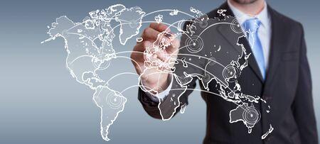 ビジネスマンにぼやけて背景描画世界接続スケッチ 写真素材